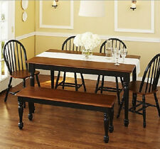 6 piece Farmhouse Dining Kitchen Set Table Bench 4 Windsor Chairs Black & Brown