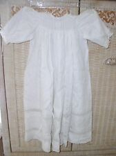 Vintage Style Linen Christening Gown Hearts and Lace Ivory