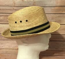 Men's Straw Fedora Hat 7 1/4 Made In Mexico