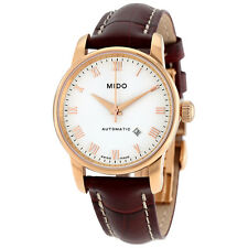 Mido Baroncelli II White Dial Brown Leather Automatic Ladies Watch M7600.3.26.8