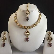 MAROON GOLD VINTAGE VICTORIAN MUGHAL COSTUME JEWELLERY NECKLACE EARRINGS SET NEW