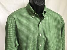 L.L. Bean Men's Large Tall LT Wrinkle Resistant L/S Shirt Olive Green Checked LL