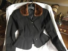 Victorian Steampunk Wool PEPLUM JACKET Waist COAT MINK Collar JACKET Black S/M
