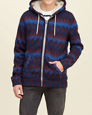 Abercrombie & Fitch - Hollister Mens Hoodie Jacket Sherpa Hoodie L Blue NWT