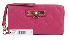 NWT DKNY Cherry Nappa Lambskin Leather Large Zip Around Tech Wristlet Wallet