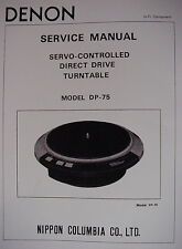 DENON DP-75 SERVO CONTROLLED DIRECT DRIVE TURNTABLE SERVICE MANUAL 9 Pages
