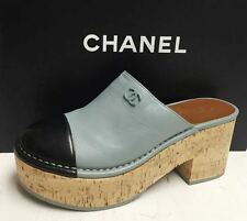 Chanel 16P CC Logo Leather Black Grey Clogs Cork Platform Slides Shoes 37 NIB