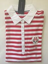NWT Women's Tommy Hilfiger Classic fit Polo Shirt Short sleeve White Red- Medium