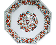 """30"""" White Marble Coffee Table Top Carnelian Stone Floral Art Outdoor Gift H3010A"""
