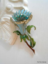 ART DECO ERA VINTAGE FLOWER BROOCH EXQUISTE ORCHID DESIGN RHINESTONES ENAMEL
