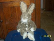 RUSS BERRIE COVINGTON BROWN & WHITE BUNNY RABBIT HARE PLUSH WITH BOW