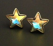 Vintage Kirks Folly Earrings Silver Tone Aurora Borealis Star Design 3r