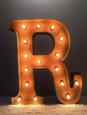 "New Rustic Metal Letter R Light Marquee: Sign Wall Decoration 24"" Vintage"