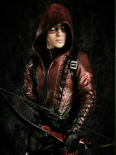 Men Designer Celebrity Arrow Arsenal Red Colton Haynes Hooded Leather Jacket
