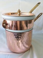 MAUVIEL Hammered Copper and Apilco Porcelain .9 QT Bain Marie Double Boiler