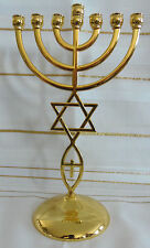 "Messianic Jewish Star of David 7 Branch GOLD Temple Menorah 9"" Tall"