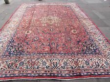 Old Shabby Chic Hand Made Traditional Persian Oriental Wool Red Carpet 402x296cm