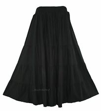 Black Women BOHO Gypsy Long Maxi Tiered Skirt XL 18