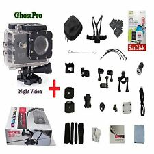 GhostPro Night Vision Full Spectrum Action Cam w/ Full HD 1080p 12mp 3x Battery