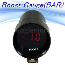 12V Micro Red Digital LED Bar Turbo Boost Gauge Meter Smoke Len Black Shell US