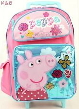 "Peppa Pig Pretty Flutter Girls 16"" Large rolling Backpack School Bag"