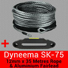 12mm X 35m Dyneema SK75 Winch Rope + Aluminium Fairlead - Synthetic Recovery 4x4