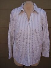 Alfani Essentials Womens Shirt Plus Sz 22W 48B White Silver Striped Stretch Top