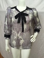 Esley NEW! Purple Paisley Silky Sheer Button Front Bow Tie Blouse Sz M NWT!!!!