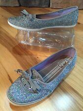 Keds Teacup Silver Glitter Plimsoll Trainers Skimmer Shoe Wedding  6 M EUC!