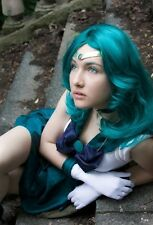 LY_530 Sailor Moon Neptune Kaiou Michiru Blue Wavy Curly Long Cosplay Wig