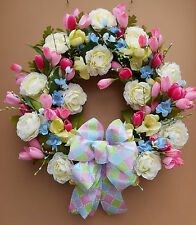 "20"" Pink Cream Blue Green Floral Spring Door Grapevine Wreath Handmade"