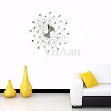 Large Novelty Diamond Crystal Jeweled Beaded Sunburst Wall Clock Home DIY Decor