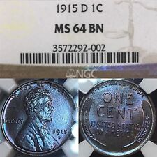 1915-D Lincoln Cent NGC MS64BN ***Electric BLUE*** Toned Monster