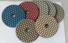 "4""Diamond dry Very Flexible polishing pads for quartz stone granite marble 7 PCS"