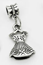 LOOK Fashion diva girl ladies dress doll European bead Charm Sterling Silver Jew