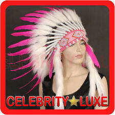 New 55cm Native Indian Chief Hot Pink Feather Headdress Fancy Dress Costume