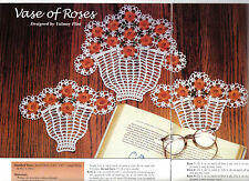 BEAUTIFUL Vase of Roses Doily/Doilies/CROCHET PATTERN