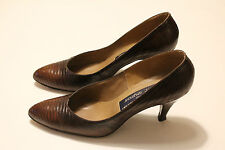 VTG STUART WEITZMAN for MR. SEYMOUR Brown Lizard Reptile Leather Pumps Size 7.5