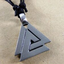 Silver VALHALLA Norse Triangles pagan Pewter Pendant with Cotton Necklace #172