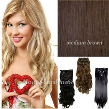 8Pcs Clip In Hair Extensions Long Full Head Real Silky Natural Hair Extentions