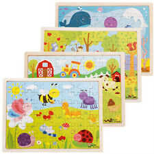 1 Pcs Wooden Puzzle Jigsaw Cartoon Baby Kids Educational Learning Tool Set Toy