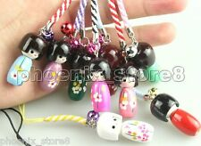 10pcs Japanese Oriental Cute Kokeshi Wooden Doll Doll Girl Keychain