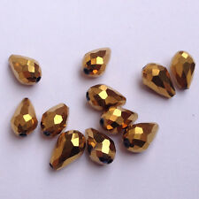 20pcs 8x12mm Teardrop Glass Faceted Loose Crystal Spacer Beads golden plated!!!~