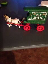 Vintage Cast Iron U.S. Mail Carrier Horse & Mail Wagon With Reins