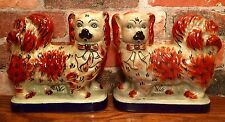 Staffordshire Pair of Red & White Spaniel Dog Porcelain Bookend Figurines