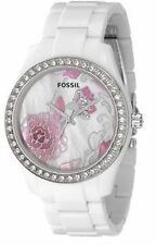 RARE! FOSSIL WHITE RESIN WATCH WITH PINK FLORAL MOTHER PEARL DESIGN ES2440