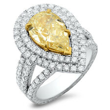 5.15 Ct. Canary Fancy Yellow Pear Shape Dual Halo Diamond Engagement Ring 14K
