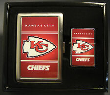 KANSAS CITY CHIEFS CLASSIC LOGO CIGARETTE CASE / WALLET AND LIGHTER GIFT SET