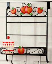 Over-Door Hanger Kitchen Organizer Apple Scrolled Metal Spice Storage Rack