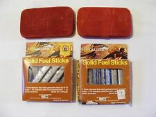 VINTAGE RED VELVET COVERED METAL HAND WARMERS WITH CALIBER SOLID FUEL STICKS